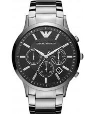 Emporio Armani AR2460 Mens clássico cronógrafo relógio de prata preto
