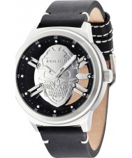 Police 14685JS-04 Mens predador de couro preto relógio pulseira