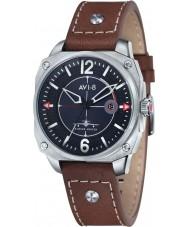 AVI-8 AV-4039-01 caçador do vendedor ambulante dos homens de couro marrom relógio de pulseira