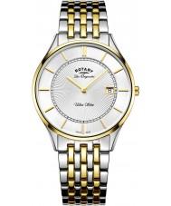 Rotary GB90801-02 Mens ultra slim dois tons pulseira de aço relógio