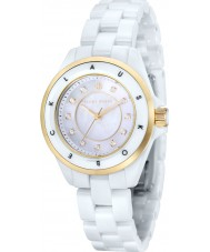 Klaus Kobec KK-10004-03 ouro Ladies luna e relógio de cerâmica branca