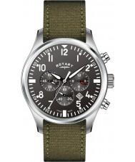 Rotary GS02680-19 Mens relógios piloto cronógrafo khaki relógio pulseira de lona