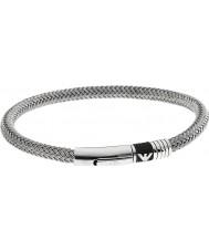 Emporio Armani EGS1623040 Mens borracha assinatura inlay pulseira de aço 2 de prata