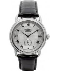 Rotary GS02424-21 Mens relógios Sherlock Holmes prata relógio preto