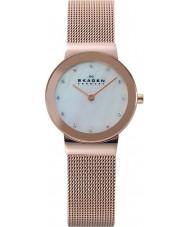 Skagen 358SRRD Ladies Klassik rosa branca relógio de ouro de malha