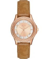 Armani Exchange AX5254 Vestido de damas luz nabuck marrom pulseira de relógio