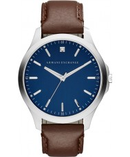 Armani Exchange AX2181 vestido de couro marrom escuro relógio de pulseira dos homens