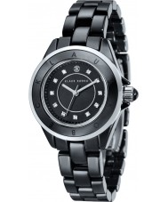 Klaus Kobec KK-10004-05 aço Ladies luna e relógio de cerâmica preta