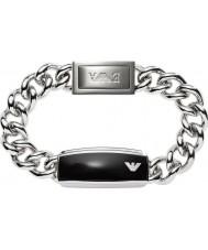 Emporio Armani EGS1729040 Mens assinatura elegante preto fosco pulseira de aço id