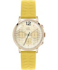 Orla Kiely OK2004 Ladies Frankie cronógrafo couro amarelo relógio de pulseira