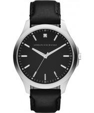 Armani Exchange AX2182 vestido de couro preto relógio pulseira masculina