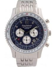 Krug-Baumen 600304DS Mens diamante viajante ar relógio cronógrafo prata