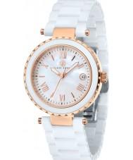 Klaus Kobec KK-10005-03 Ladies venus ouro rosa e relógio de cerâmica branca