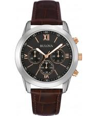 Bulova 98A142 vestido dos homens de couro marrom relógio cronógrafo