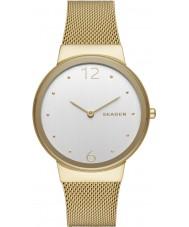 Skagen SKW2519 Ladies ouro freja banhado malha relógio