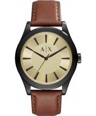 Armani Exchange AX2329 Mens nico marrom escuro relógio de pulseira de couro