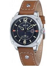AVI-8 AV-4039-02 caçador do vendedor ambulante Mens couro tan relógio pulseira