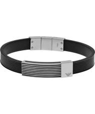 Emporio Armani EGS2072040 Mens fluxo assinatura pulseira de couro preto id