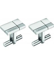 Calvin Klein KJ3PMC090100 Homens construídos abotoaduras de aço tom de prata