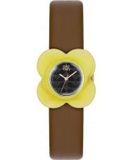 Orla Kiely OK2120 Ladies poppy caixa amarela de couro marrom pulseira de relógio