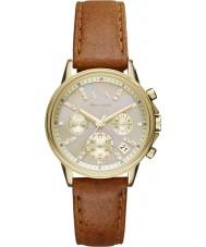 Armani Exchange AX4334 luz das senhoras de esportes de couro marrom relógio cronógrafo