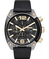 Diesel DZ4375 Mens estouro arma cronógrafo banhado relógio com pulseira de couro