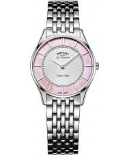 Rotary LB90800-07 Ladies ultra slim de aço pulseira de prata relógio