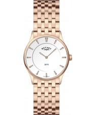 Rotary LB08204-02 Senhoras branco ultra slim aumentou relógio de ouro