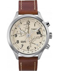 Timex T2N932 creme Mens fly-back marrom relógio cronógrafo