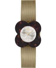 Orla Kiely OK4030 Ladies poppy concha de tartaruga caso de ouro de malha pulseira de relógio