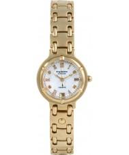 Krug-Baumen 5116DL Charleston 4 de diamantes pulseira de ouro mostrador branco