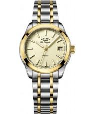 Rotary LB90174-03 Senhoras relógios legado dois tons pulseira de aço relógio