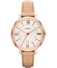 Fossil ES3487 Ladies areia Jacqueline relógio com pulseira de couro