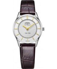 Rotary LS90800-02 Ladies ultra slim couro marrom pulseira de relógio