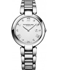 Raymond Weil 1600-ST-00618 Ladies brilhar relógio de diamantes de prata com cetim preto pulseira intercambiável