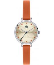 Orla Kiely OK2013 Ladies hera couro laranja pulseira de relógio