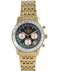 Krug-Baumen 400108DS viajante Air ouro de marcação verde banhado a pulseira