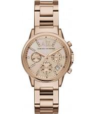Armani Exchange AX4326 vestido das senhoras rosa banhado a ouro relógio cronógrafo