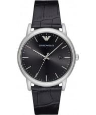Emporio Armani AR2500 vestido Mens couro preto relógio pulseira