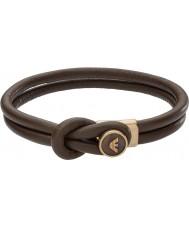 Emporio Armani EGS2213251 Mens pulseiras de couro marrom assinatura