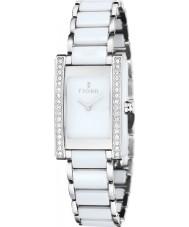 Fjord FJ-6013-33 Ladies vihelmina relógio de cerâmica branca de prata