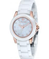 Klaus Kobec KK-10008-02 Senhoras vesta ouro rosa e relógio de cerâmica branca