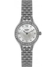 Rotary LB02866-06 Senhoras relógios de pedra definir relógio de aço de prata