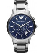 Emporio Armani AR2448 Mens clássico cronógrafo relógio de prata azul