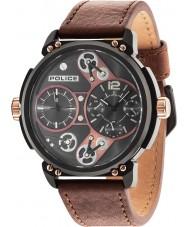 Police 14693JSB-12A Mens steampunk pulseira de relógio de couro marrom
