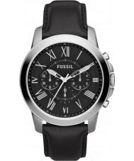 Fossil FS4812 Mens concessão cronógrafo de couro preto relógio pulseira