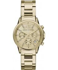 Armani Exchange AX4327 Vestido de damas banhado a ouro relógio cronógrafo