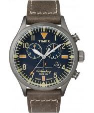 Timex TW2P84100 Homens Waterbury couro marrom relógio de pulseira de cronógrafo
