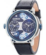 Police 14693JSTBL-03 Mens steampunk pulseira de relógio de couro azul