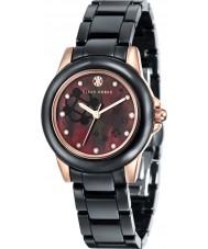 Klaus Kobec KK-10008-04 Senhoras vesta ouro rosa e relógio de cerâmica preta